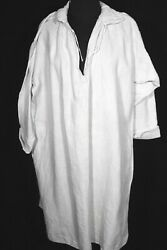 Rare 18th C French Antique Victorian Flax Linen Hand Made Shirt Size Large