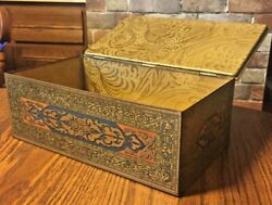Antique Art Deco Tin Humidor Mosaic Litho Wilson And Co Soap Dept. Usa Hinged Lid