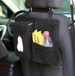 Car Seat Back Storage Bag Organizer Multi Pocket napkin snack drink phone Black