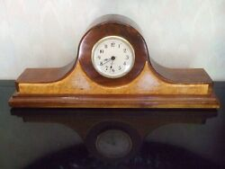 Hand Carved Wooden Clock Two Tone Brown Battery For Mantel Desk Table Shelf
