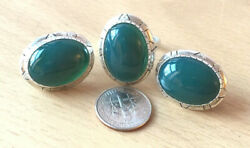 Vintage Green Chalcedony Onyx Ring And Earrings Set Sterling Silver Southwestern