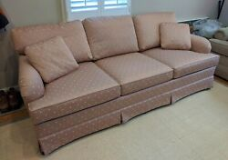 Vintage Sherrill Traditional Sofa Couch With Skirt, Custom Design - Dusty Rose