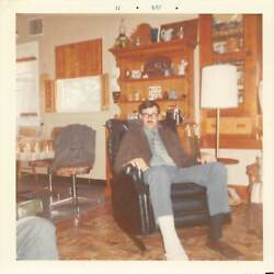 Leg Injury - Foot In Cast Handsome Man Recliner Chair Gay Int Vtg Photo 365