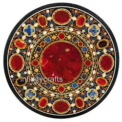42 Inch Marble Conference Table Top Black Office Table Top With Pietra Dura Art