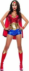 Starline 241823 Womens Wonder Lady Costume Set With Headpiece Red/gold Size M