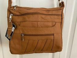 Roma Leathers RIGHT or LEFT Lock amp; Key Concealed Carry SOFT Crossbody CARAMEL $79.00