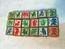 Vintage Alphabet Letters Animals Objects Disney Wood Toy Blocks Lot Of 18 1940s