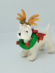 WEST HIGHLAND TERRIER Christmas Ornament WESTIE w WREATH and ANTLERS HAND MADE