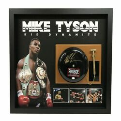 Mike Tyson Kid Dynamite Hand Signed And Framed Ringbell Ali Frazier Foreman