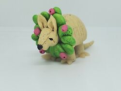 Armadillo Christmas Ornament With Prickly Pear Cactus Wreath Hand Made Whimsical