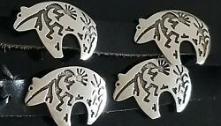 Signed Old South Western Stamped Sterling Silver Bear Kokopelli Concho Belt Rare