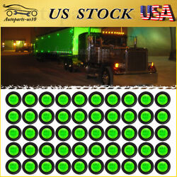 """50x Green Led Side Clearance Light Truck Trailer With Grommet 3/4"""" Marker Lights"""