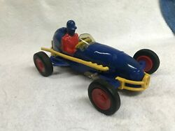Vintage Nosco Sprint Car/ Rare Dark Blue-yellow Accents. Wind-up Does Not Work