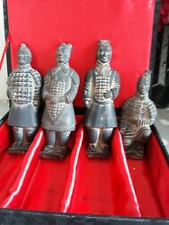 4 Emperor Chinese Oriental Clay Boxed Statues