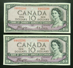 Canada 10 1954, Devil's Face Notes, Consecutive Serial Numbers, Aunc