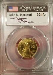 1996-w 5 Mercanti Olympic Cauldron Gold Commemorative Coin Pcgs Ms70 Pop Of 1
