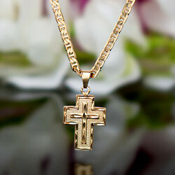 Sevil 18K Gold Plated Flat Mariner Necklace With Cross Charm Pendant $12.99