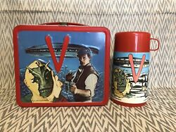 V Visitors Vintage Metal Lunchbox And Thermos Aladdin 1984
