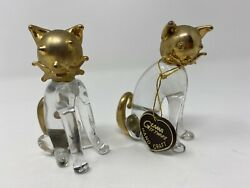Glama Giftware Gold Trimmed 2 Cats Cat Glass Habd Craft