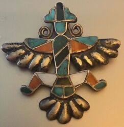 Zuni Attr. Horace Iule Early Cast Knifewing Pin Inlaid Turquoisered Abalone