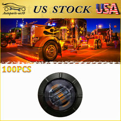 100x Led Trailer Marker Lights Smoked Amber Auto Truck Exterior Clearance Light