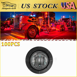 100x 3/4 Led Trailer Side Marker Lights Smoked Red 12v Us Truck Clearance Light