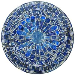 36 Inches Blue Lawn Table Top Round Shape Office Meeting Table Unique Design