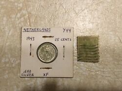 1943 Netherlands Queen Wilhelmina 25 Cent Silver Xf -au And Stamp 1899 3 Cent Lot