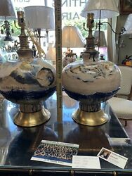Pair Of Artist Signed Natural Wildlife Vintage Pottery Lamps Designed By Lief.n.