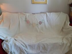 Vintage Chenille Bedspread- Almost Whole- Cutter