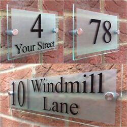 Modern House Sign Plaque Door Number Street Glass Effect Acrylic House Name