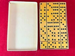 Vintage Cardinal Catalin Dominoes Butterscotch Double 6 No. 500 In Box