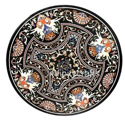 48 Inches Black Marble Hallway Table Round Patio Coffee Table Marquetry Art