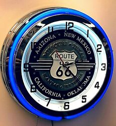 19 Route 66 With State Names Blue Neon Clock Mancave Garage Chrome Finish
