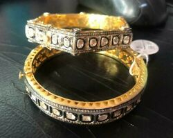 Natural Rose Cut Diamond And Polki 925 Sterling Silver 2 Pieces Victorian Bangle