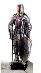 Medieval Templar Knight Full Suit Of Armour Collectible Larp Cosplay Costume