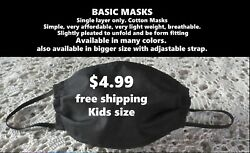 Face Mask HANDMADE USA Basic Cotton BREATHABLE SINGLE LAYER Kids $1.25