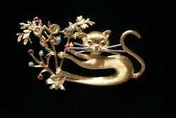 Italian 18k Gold Design Cat On Rubie And Turquoise Gold Flowers Broach Pin.
