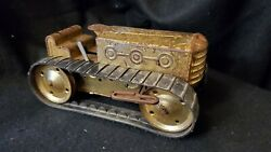 Vintage Marx Tin Windup Bulldozer Tractor Gold Cad Plated With Tracks - Works
