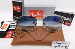 Ray Ban Aviator RB3025 001 3F Gold Light Blue Gradient Unisex 58MM sunglass $62.99