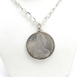 1780 Maria Theresa Thaler Genuine Sterling Silver Coin Pendant Chain Necklace