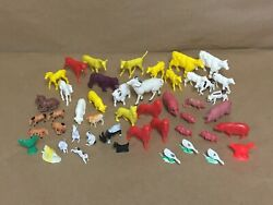 Vintage Plastic Miniature Farm Animals Miniatures Toy Lot Cows Horses Pigs