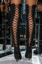 NEW Pointed Toe Stretchy Over The Knee Thigh High Boots Stiletto Heel Lace Up $39.99