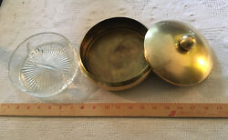 1920 Antique Hgs Heraldic Brass/glass Covered Footed Candy Dish Art Deco England