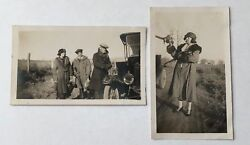 Set Of 2 Hunting Pheasant Guns Women Car Diptych Antique Photographs Picture