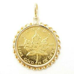 Canada Maple Leaf 1/4oz Coin 24k Yellow Gold 18k Pendant Top Free Shipping Used