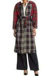 London Womens Long Plaid Check Trench Coat Nwt Us 0 Xs Navy Red 2490