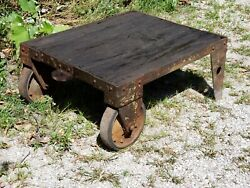 Victorian Antique 1890and039s Industrial Railroad Iron / Steel Cart W/ Wood Planks 2
