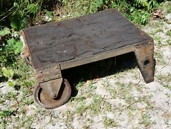 Victorian Antique 1890and039s Industrial Railroad Iron / Steel Cart W/ Wood Planks 3
