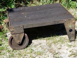 Victorian Antique 1890and039s Industrial Railroad Iron / Steel Cart W/ Wood Planks 4